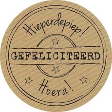 Stickers kraft ''Gefeliciteerd''