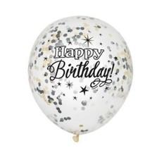 Confetti Ballonnen Happy Birthday Zilver/Goud (6st)