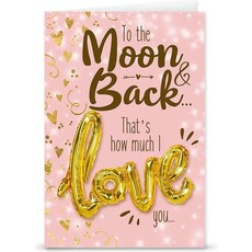 """Kaart """"Moon & Back"""" + Love ballon"""