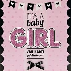Geboorte Kaart 'It's a Baby Girl' Roze