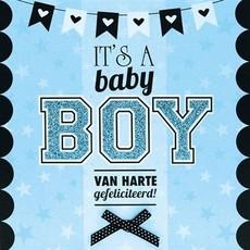Geboorte Kaart 'It's a Baby Boy' Blauw