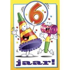 Verjaardagskaart 6 Jaar Feesttoeters