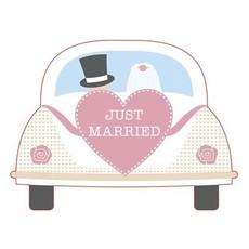 Trouwkaart 'Just Married' Trouwauto