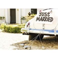 Just Married Kaart Bruidswagen Blikjes