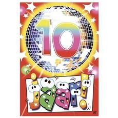 Wenskaart Verjaardag 10 Jaar Disco Party