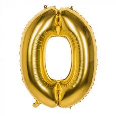 Gouden Folieballon Cijfer 0 - 86 cm