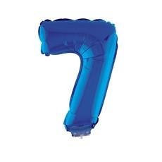 Folieballon Klein Cijfer '7' Blauw Met Stokje (41cm)
