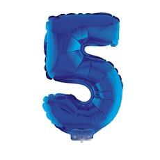 Folieballon Klein Cijfer '5' Blauw Met stokje (41cm)