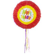 Pinata Happy Birthday Sterren Rood/Geel - 48cm
