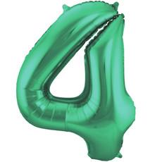 Folieballon Mat Groen Cijfer '4' - 86cm