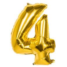 Gouden Folieballon Cijfer 4 - 86 cm