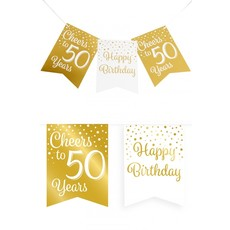 Verjaardagsslinger Vaandel 50 Jaar Goud/Wit (6m)