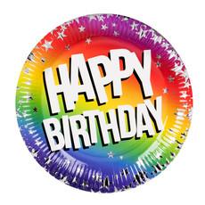 Feestbordjes Happy Birthday Rainbow Sterren (6st)