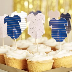 Babyshower Cake Toppers Rompertjes (12st)