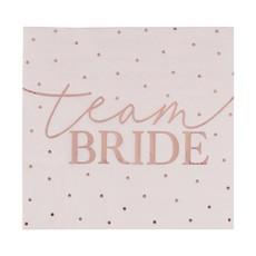 Vrijgezellenfeest Servetten 'Team Bride' Rosé Goud (16st)