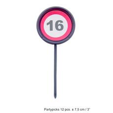 12 herbruikbare coctailprikkers verkeersbord 16 jaar