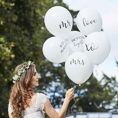 Bruiloft Ballonnen Set Wit (6st)