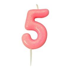 Nummerkaars '5' Glitter Roze