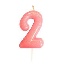 Nummerkaars '2' Glitter Roze