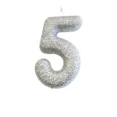Nummerkaars '5' Glitter Zilver
