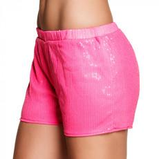 Hotpants Pailletten Neon Roze