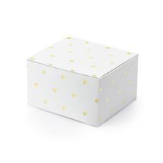 Geschenkdoosjes wit met gouden hartjes (10st)
