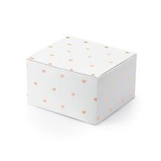 Geschenkdoosjes wit met Rose gouden hartjes (10st)