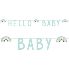 Letterslinger 'Hello Baby' Rainbow Mintgroen (1,4m)