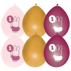Ballonnen Verjaardag 1 Jaar Nijntje Roze/Goud (6st)