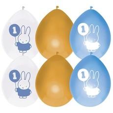 Ballonnen Verjaardag 1 Jaar Nijntje Blauw/Goud (6st)