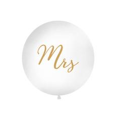 Mega Ballon Pastel Wit met Gouden print Mrs - 1 meter