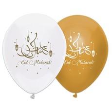 Eid Mubarak Ballonnen Wit/Goud (6st)