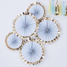 Paper fans lichtblauw goud pastel (5st)