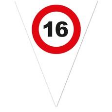 Vlaggenlijn Verkeersbord 16 Jaar Wit - 5 Meter