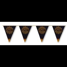 Metallic Vlaggenlijn 'Hajj Mubarak' Zwart/Goud (6m)