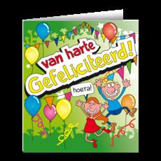 Wenskaart - Van Harte Gefeliciteerd Cartoon