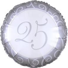 Folieballon 25 Jaar Jubileum Zilver (43cm)
