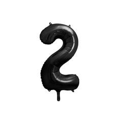 Folieballon Cijfer 2 Zwart (86cm)