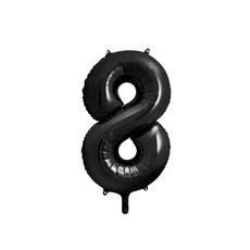 Folieballon Cijfer 8 Zwart (86cm)