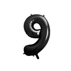 Folieballon Cijfer 9 Zwart (86cm)