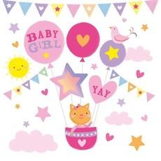 Geboorte Kaart 'Folie Baby Girl'