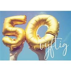 Verjaardagskaart Hoera 50 Jaar Folieballonnen