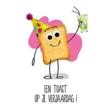 Verjaardagskaart 'Een Toast op je verjaardag'