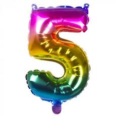 Folieballon Regenboog Cijfer 5 (36cm)