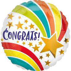 Folieballon 'Congrats' Sterren Rainbow (43cm)
