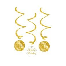 Hangdecoratie Swirls 16 Jaar Goud/Wit (3st)
