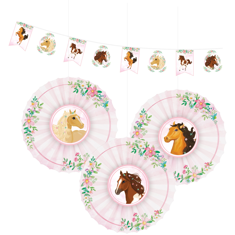 Amscan decoratieset Beautiful Horses papier roze/wit 4 delig online kopen
