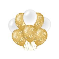 Ballonnen 60 Jaar Goud/Wit (8st)