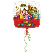 Folieballon Super Mario Happy Birthday Vierkant (43cm)