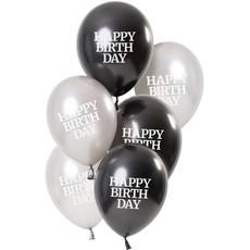Ballonnen Happy Birthday Gloss Zwart/Zilver (6st)
